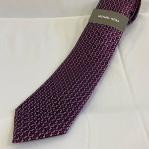 Michael Kors Burgundy and Pink Rectangles Tie